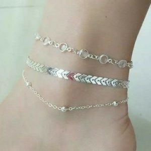 3 Piece Silver Anklet Multi-Chain